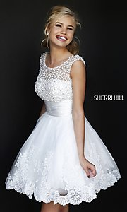 Short High Neck White Sherri Hill Prom Dress 4302