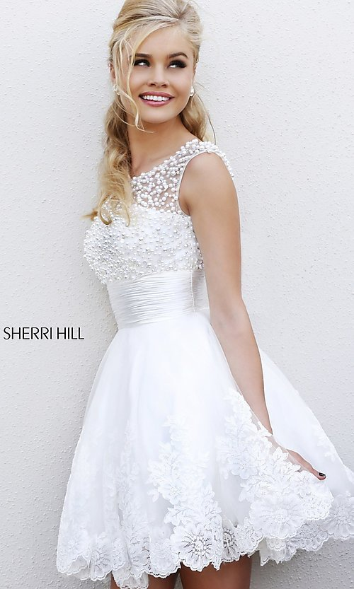 Sherri Hill Prom Dress Short White Dress for Prom