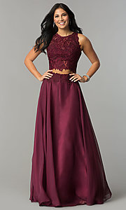 Image of Two Piece Long Lace Prom Dress 10001 Style: DJ-10001 Detail Image 1