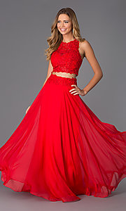 Two Piece Long Lace Prom Dress by Dave and Johnny
