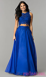 Image of Two Piece Long Lace Prom Dress 10001 Style: DJ-10001 Detail Image 3