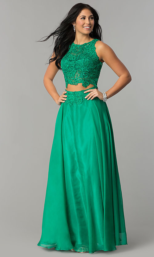 Two Piece Long Lace Dave and Johnny Prom Gown
