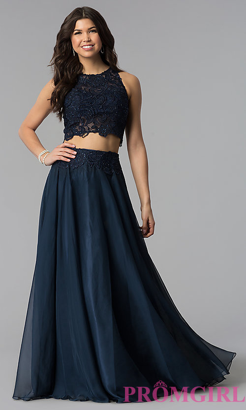 Image of Two Piece Long Lace Prom Dress 10001 Style: DJ-10001 Detail Image 2