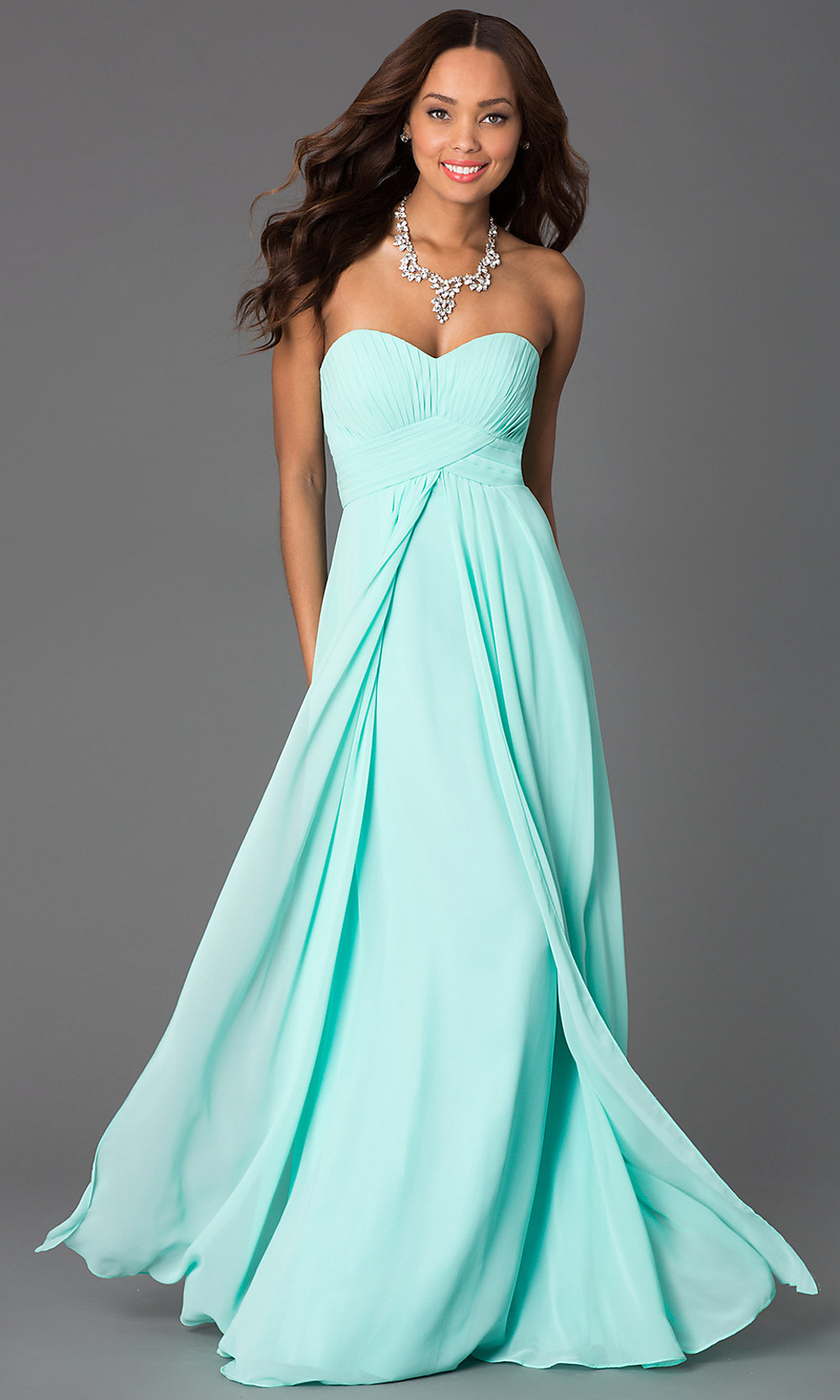 Empire Waist Strapless Prom Gown