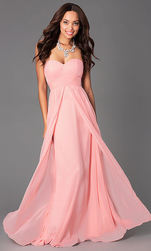 6e72fb3436 Image of Long Strapless Empire Waist Prom Dress Style: DQ-8658 Front Image