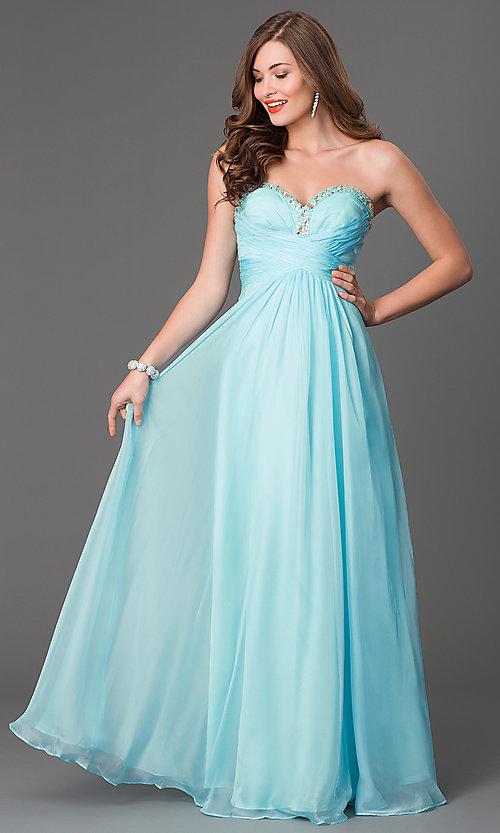 Mint Green Prom Gowns Strapless Prom Dresses in Green- PromGirl