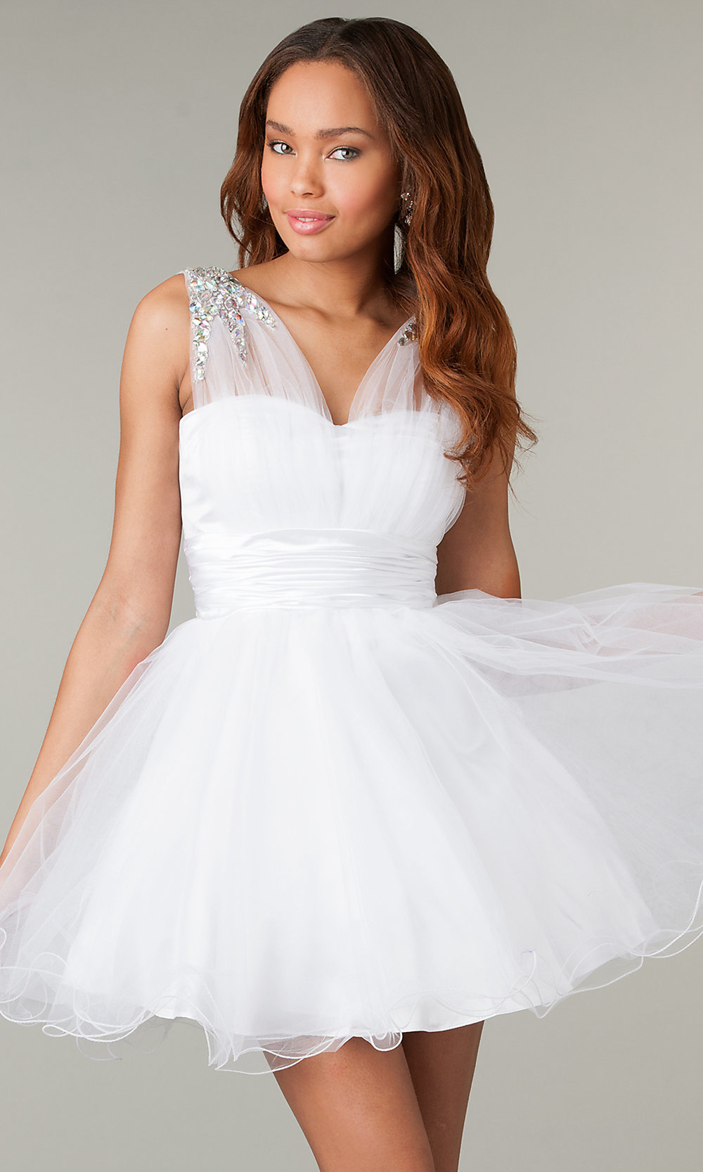Short Sleeveless Babydoll Corset Prom Dress-PromGirl