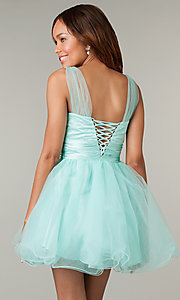 Image of short sleeveless v-neck babydoll corset prom dress.  Style: DQ-8590 Back Image