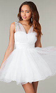 Short Sleeveless V-Neck Babydoll Corset Prom Dress