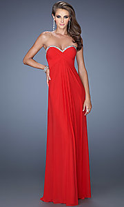 Long Strapless Open Back Evening Gown by La Femme