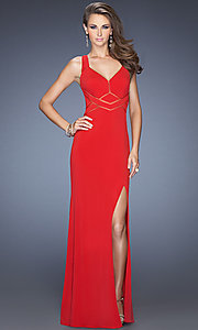 V-Neck Prom Dress by La Femme 19851