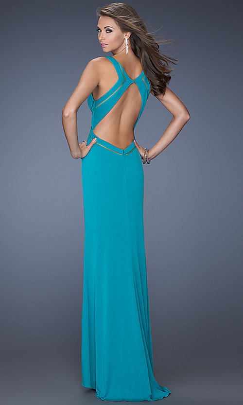 La Femme Long V Neck Prom Dress, Sleeveless Prom Gowns- PromGirl
