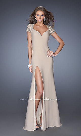 Illusion-Lace Short-Sleeve Open-Back Gown