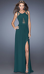 Floor Length Sleeveless Dress with Cut Out Back by La Femme