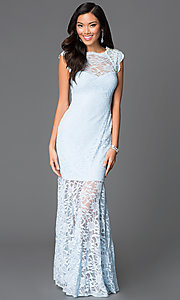 Long Cap Sleeve Lace Dress by Morgan
