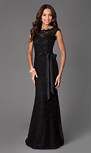 Black Lace Evening Gown by Mori Lee 696