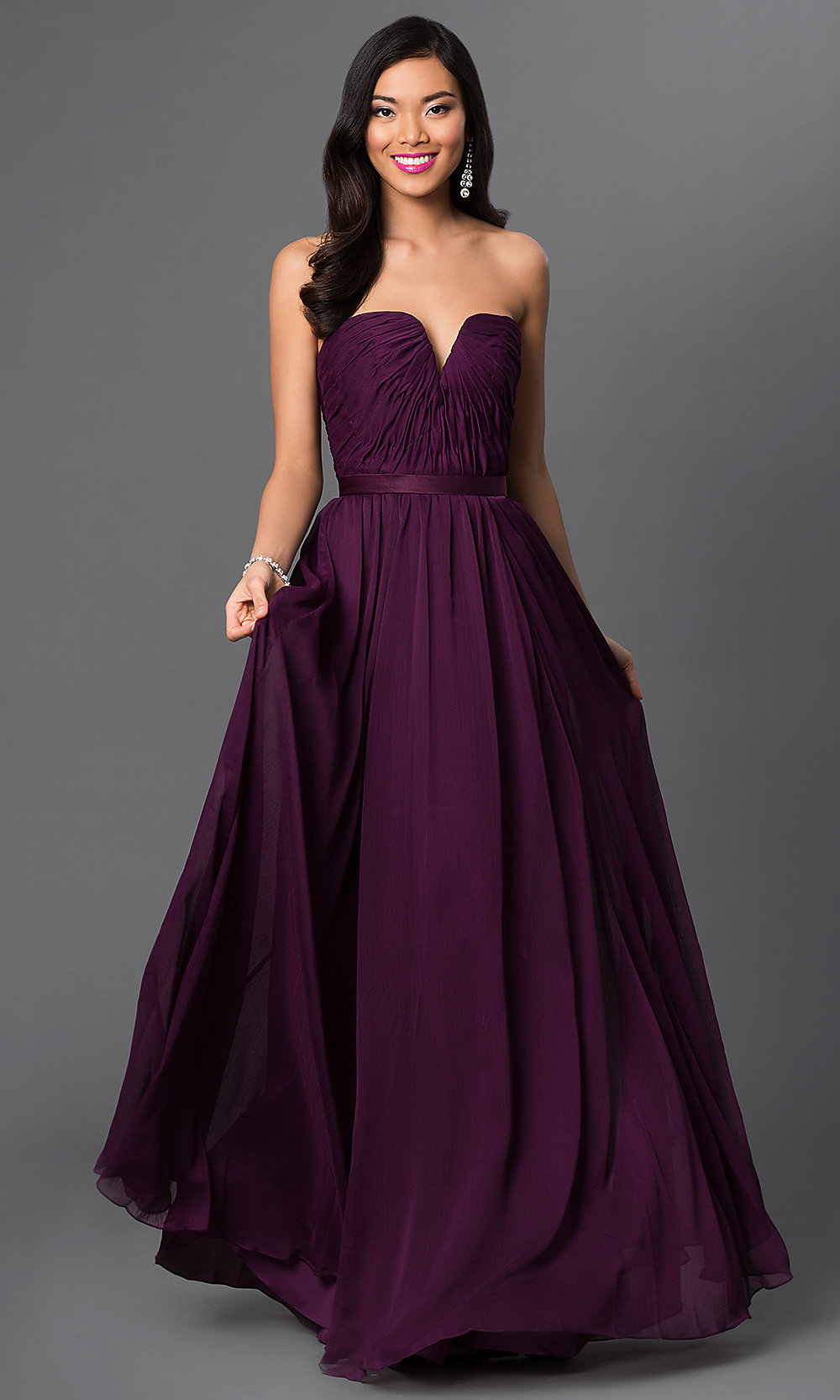 Long Purple Dresses, Strapless Purple Bridesmaid Dress- PromGirl