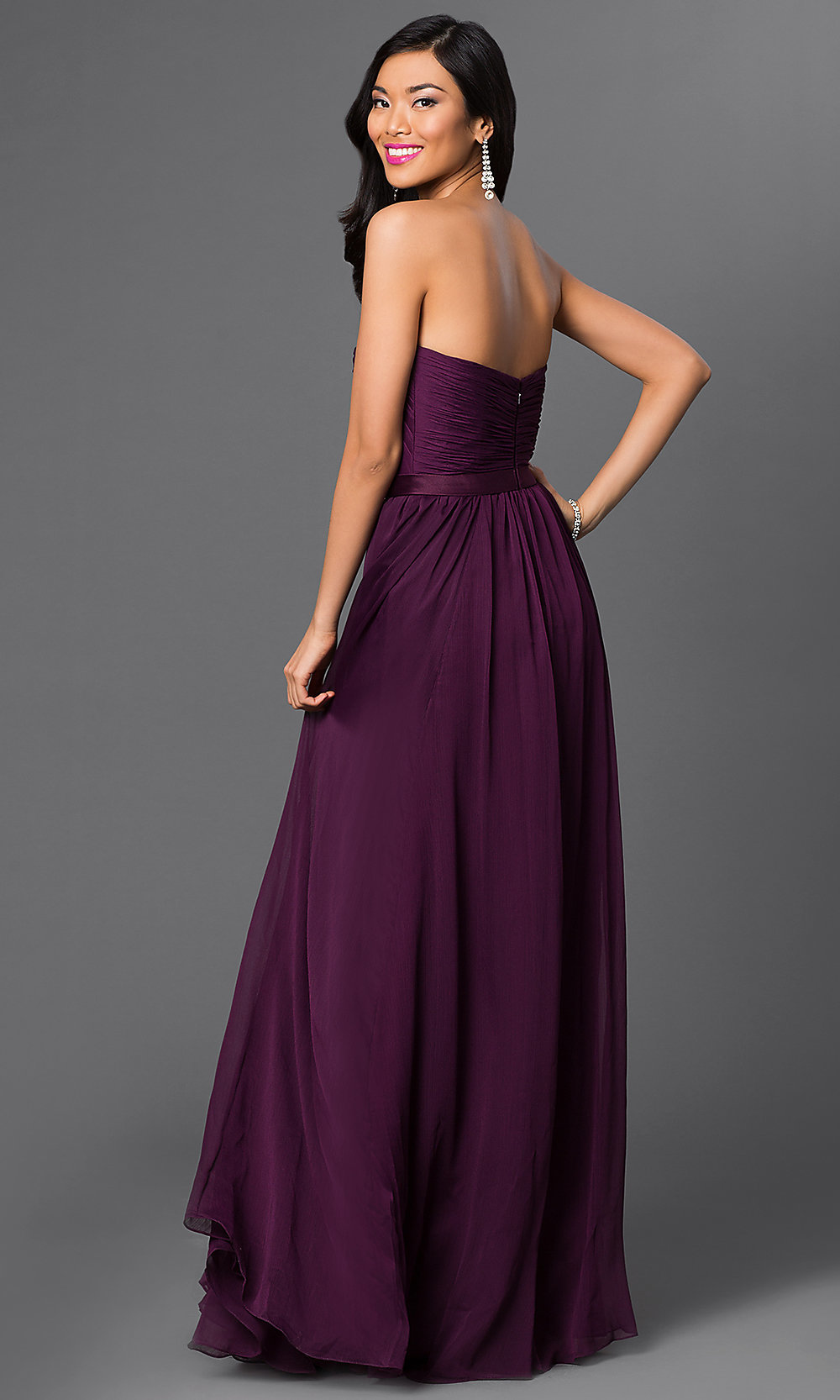 Long Purple Dresses- Strapless Purple Bridesmaid Dress- PromGirl