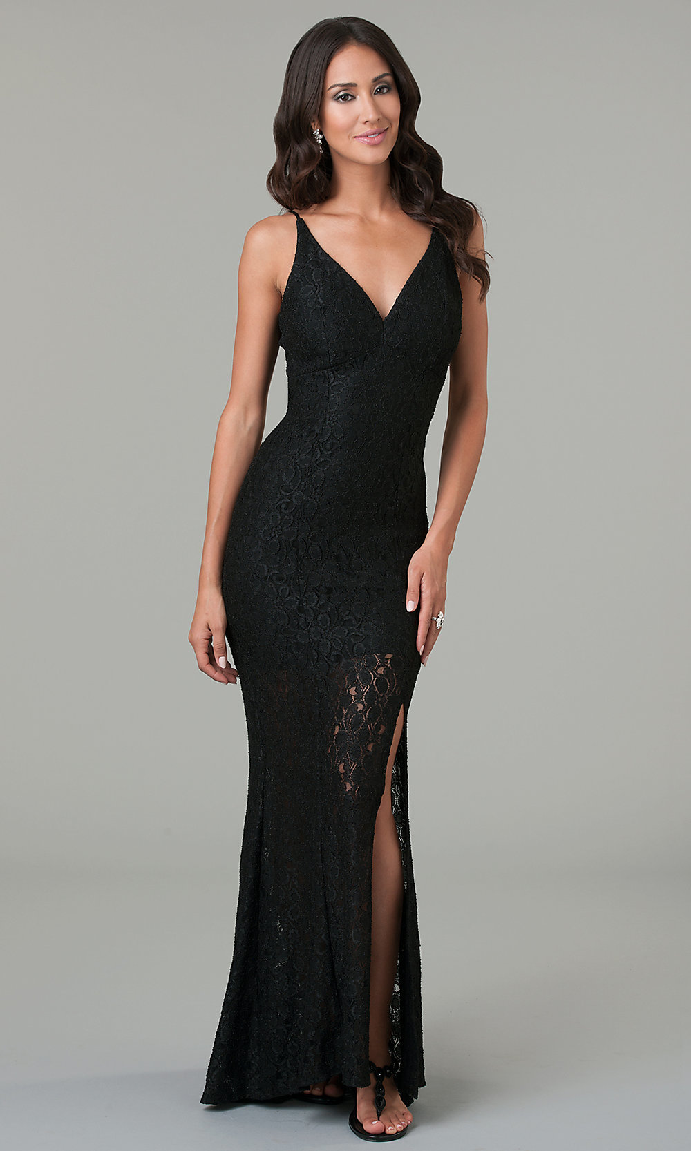 Spaghetti Strap Long Black Lace Prom Gown- PromGirl