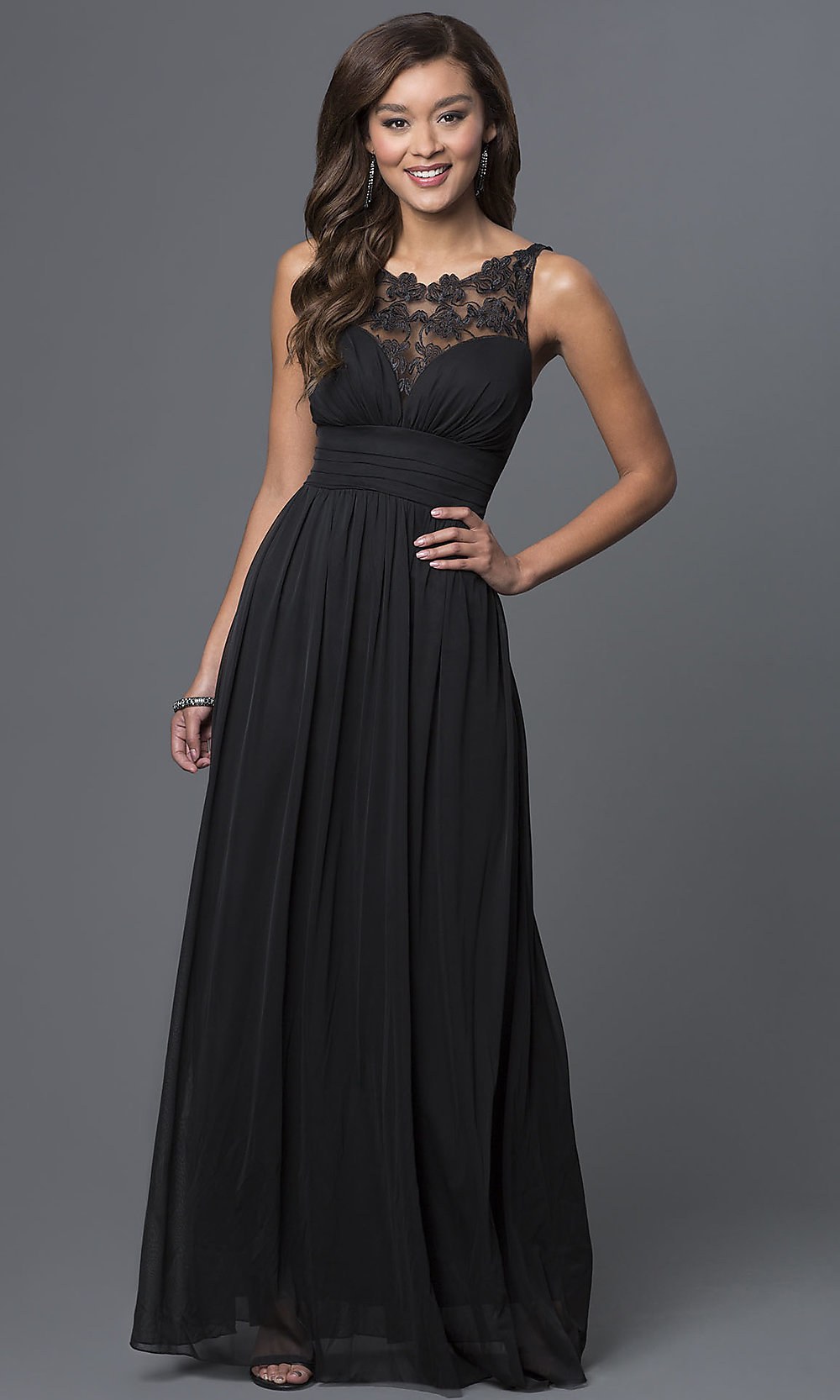 long elegant sleeveless prom dress promgirl