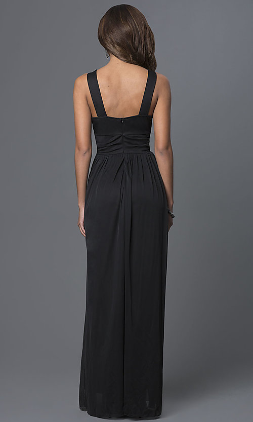 Image of floor-length illusion-lace sleeveless dress. Style: TW-4069 Back Image