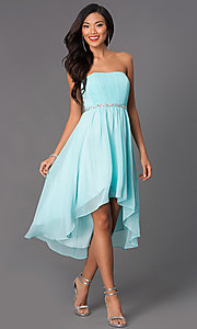 Image of strapless high low beaded waistline dress Style: DQ-8626 Detail Image 4