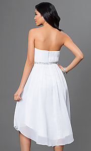 Image of strapless high low beaded waistline dress Style: DQ-8626 Back Image