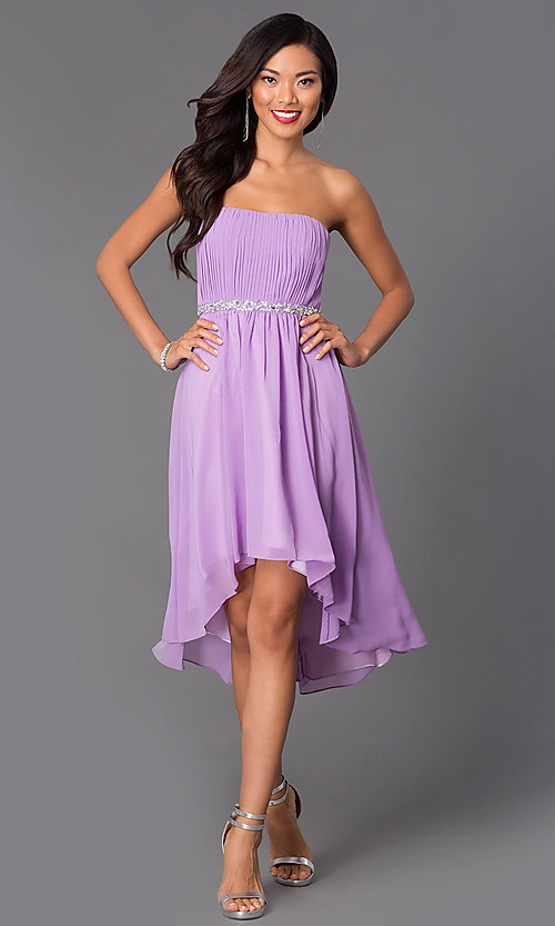 Image of strapless high low beaded waistline dress Style: DQ-8626 Detail Image 3