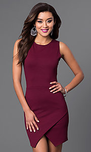 Image of short sleeveless dress with mock-wrap skirt. Style: CH-2348 Front Image
