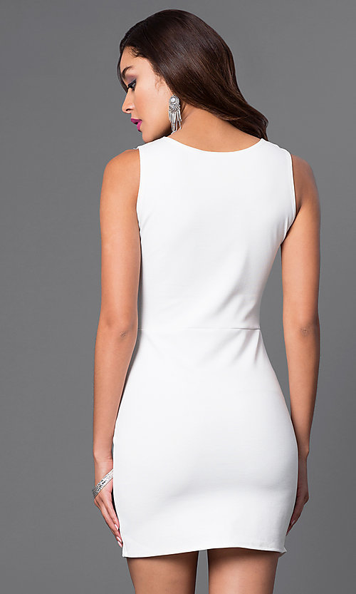 Image of short sleeveless dress with mock-wrap skirt. Style: CH-2348 Back Image