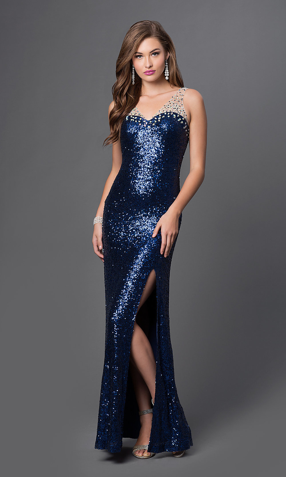Sleeveless Sequin Gowns- Sequin Sleeveless Prom Dresses- PromGirl
