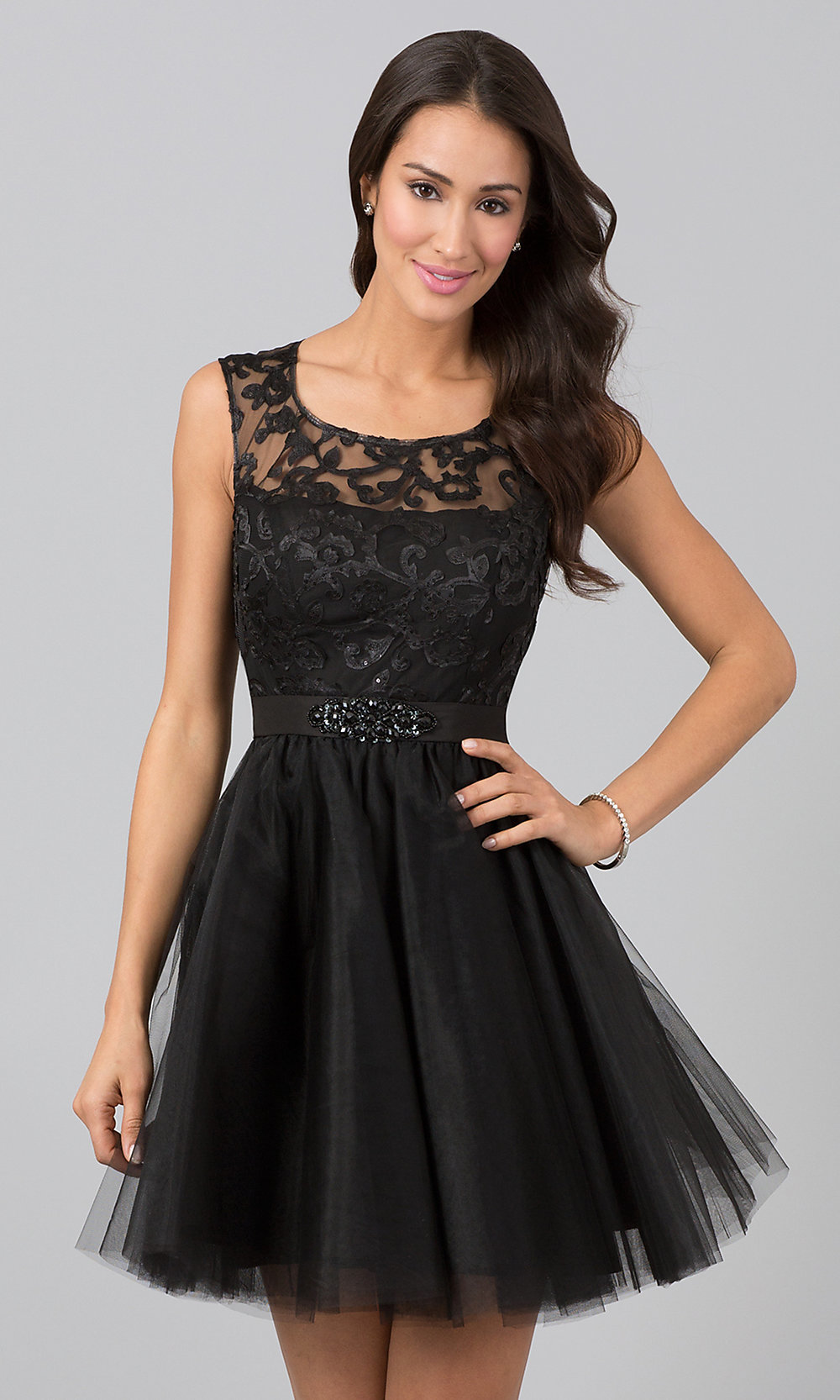 Short Sleeveless Lace Dresses, Short Lace Prom Dresses- PromGirl