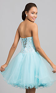 Image of a-line corset short prom dress. Style: NA-6015 Back Image