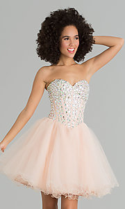 Image of a-line corset short prom dress. Style: NA-6015 Detail Image 3