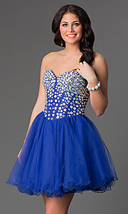 Image of a-line corset short prom dress. Style: NA-6015 Detail Image 2