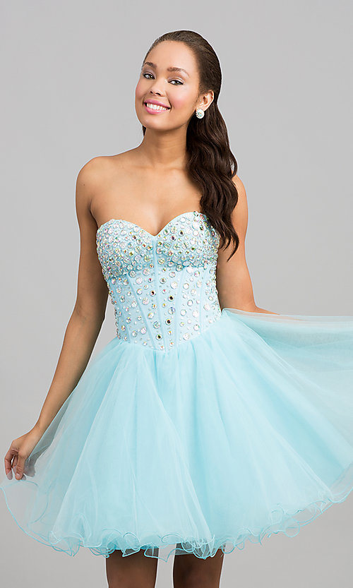 Image of a-line corset short prom dress. Style: NA-6015 Front Image