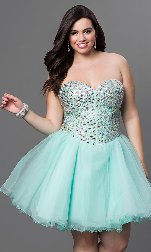 Image of a-line corset short prom dress. Style: NA-6015 Detail Image 1