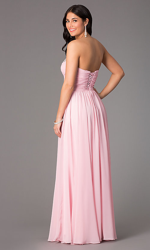 Image of long beaded strapless corset ball gown Style: DQ-8693 Back Image