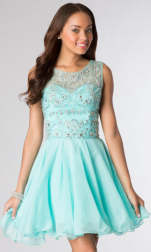 Image of short sleeveless beaded fit-and-flare party dress. Style: DQ-8708 Detail Image 2