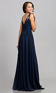 Image of ruched v-neck bodice sleeveless long prom dress.  Style: SI-16111 Back Image