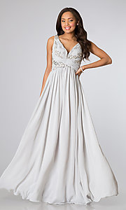 Image of ruched v-neck bodice sleeveless long prom dress.  Style: SI-16111 Front Image