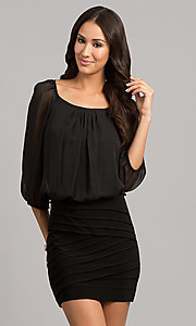 Short Black Three Quarter Sleeved Dress