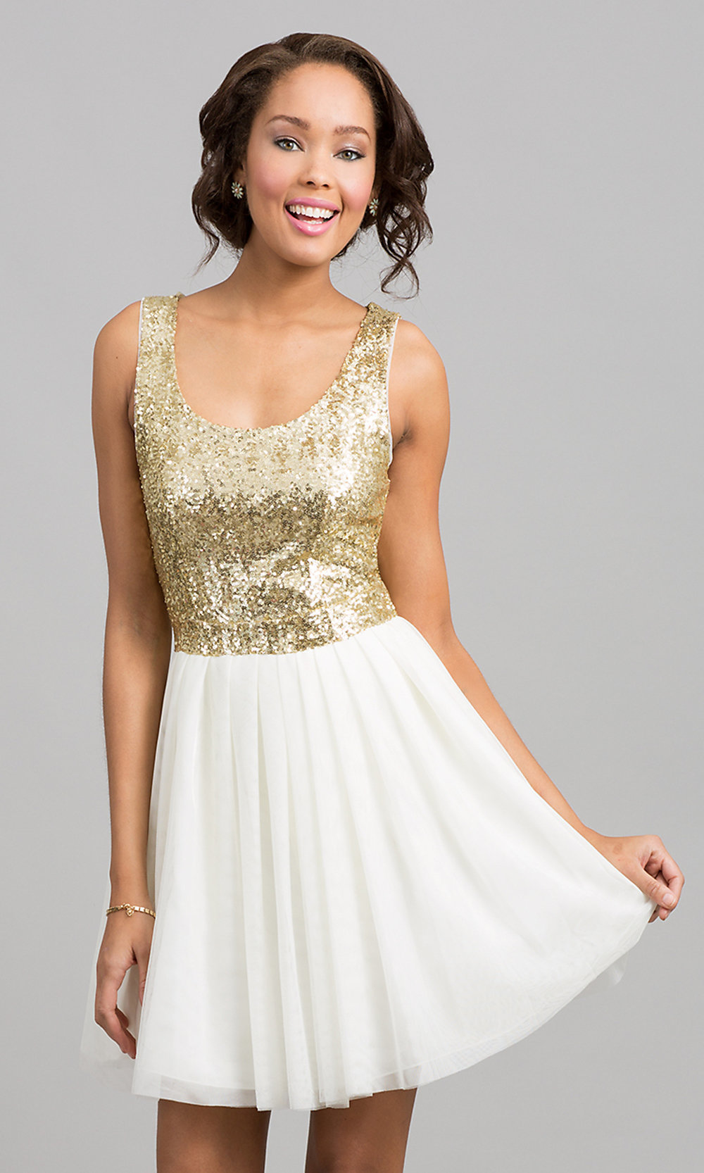 Short Dress with Sequin Top Sequin Dresses- PromGirl