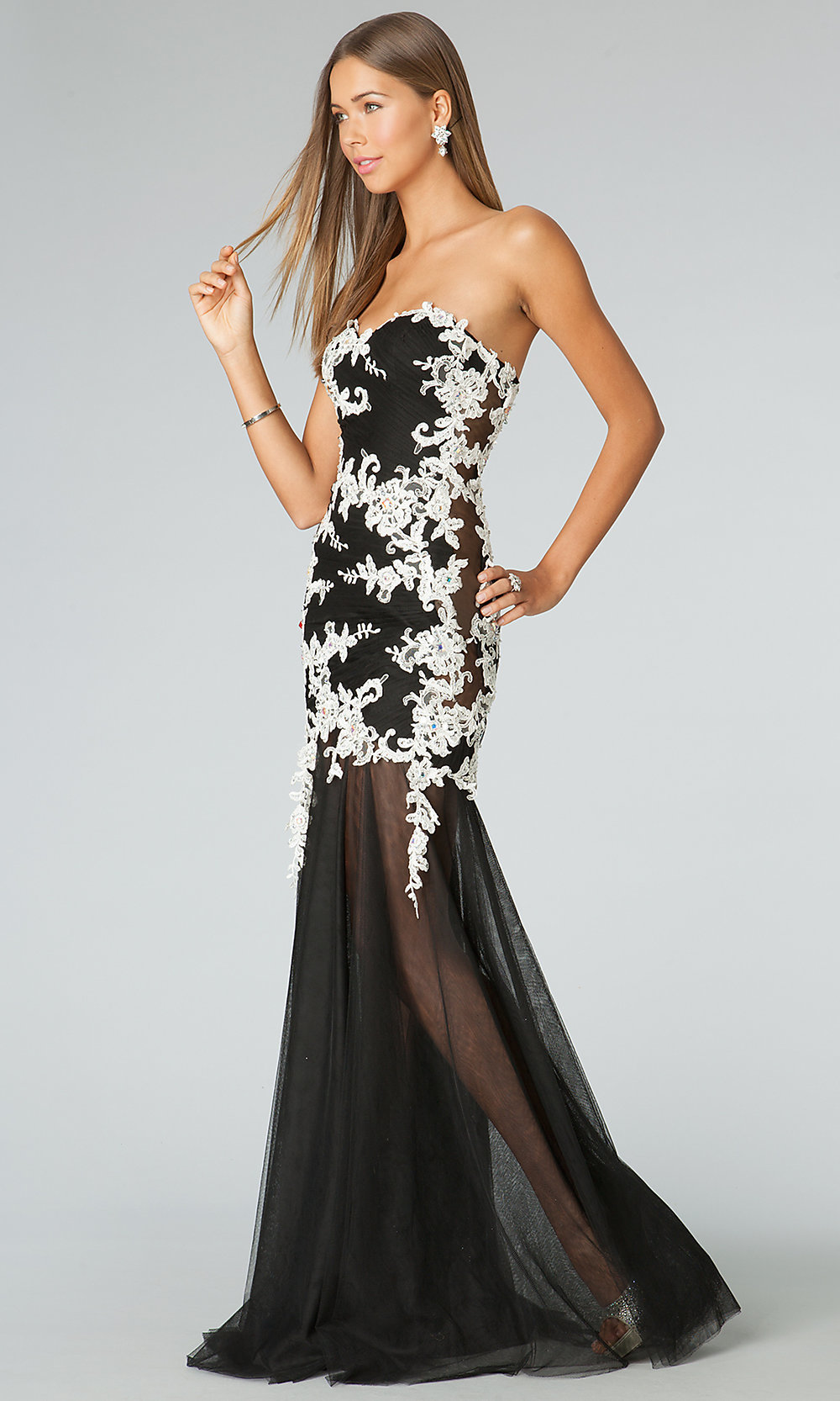 Black Dress, Strapless Black and White Gowns- PromGirl