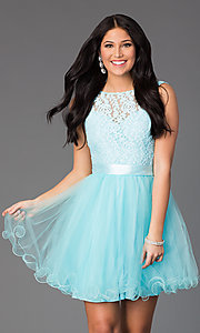Image of illusion sweetheart short babydoll party dress. Style: DQ-8741 Detail Image 2