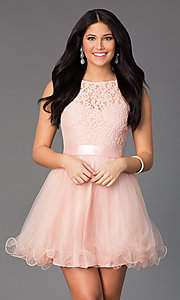 Image of illusion sweetheart short babydoll party dress. Style: DQ-8741 Front Image