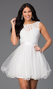 Image of illusion sweetheart short babydoll party dress. Style: DQ-8741 Detail Image 1