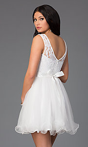 Image of illusion sweetheart short babydoll party dress. Style: DQ-8741 Back Image