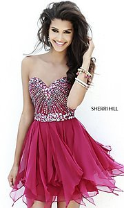 Sherri Hill Strapless Short Beaded Dress 1931