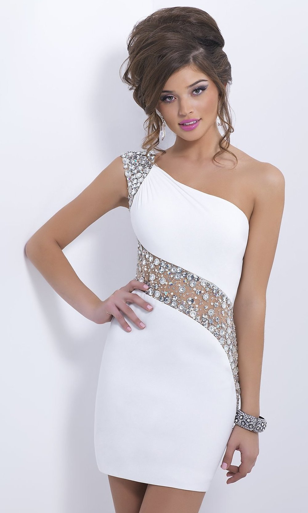 Short One Shoulder Beaded Cocktail Dresses- PromGirl